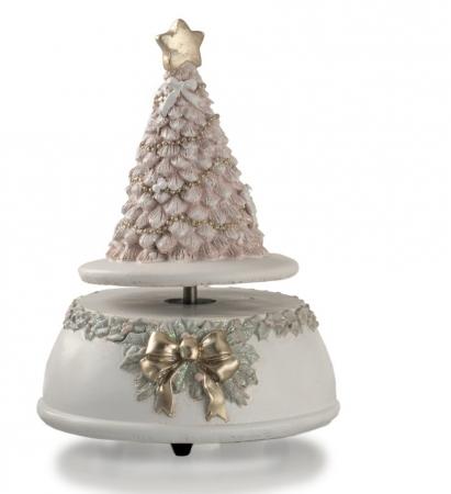 CARILLON ALBERO ROSA GLITTER H.15 cm Natale