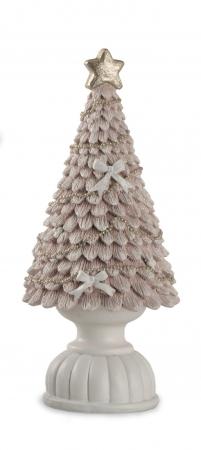 ALBERO ROSA GLITTER CON BASE H.26 cm Natale