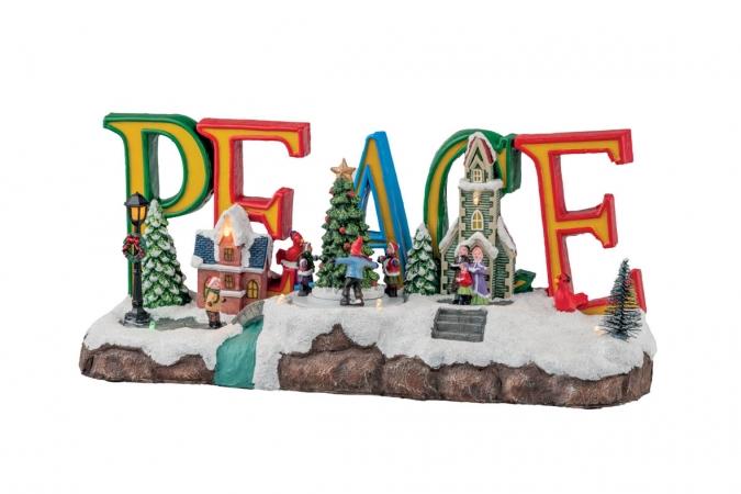 VILLAGGIO PEACE CON LED E MOVIMENTO 39*18CM Natale
